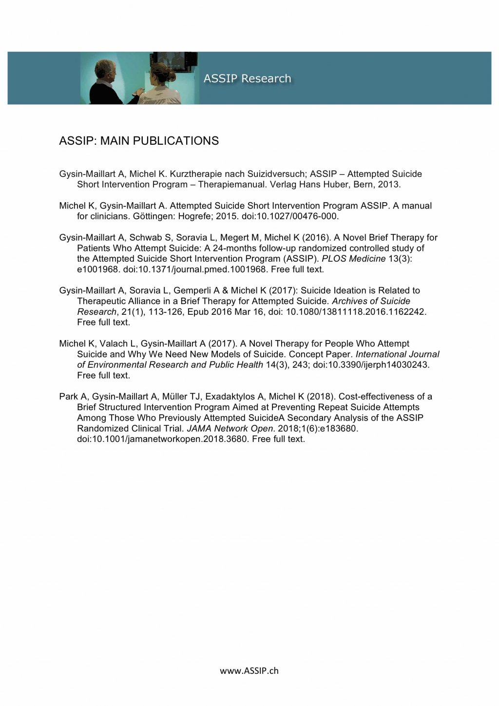List Main Publications Assip