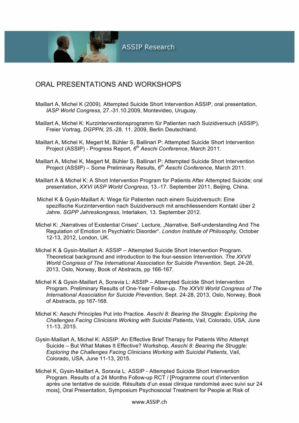 List Oral Presentations and Workshops